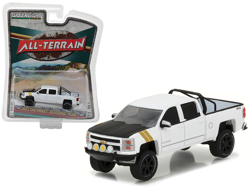 "2015 Chevrolet Silverado 1500 White Pickup Truck ""All Terrain\"" Series 5 1/64 Diecast Model Car by Greenlight"