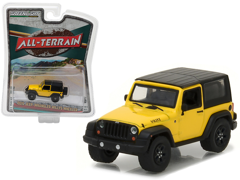 "2015 Jeep Wrangler Willys Wheeler Yellow ""All Terrain\"" Series 5 1/64 Diecast Model Car by Greenlight"