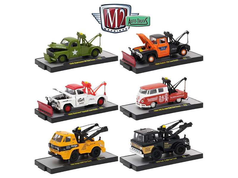 Auto Trucks 6 Piece Set Release 44 IN DISPLAY CASES 1/64 Diecast Model Cars by M2 Machines