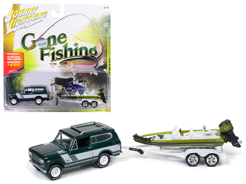 "1979 International Scout Emerald green Poly with Bass Boat ""Gone Fishing\"" 1/64 Diecast Model Car by Johnny Lightning"
