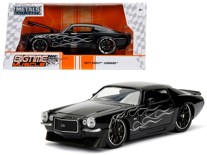 1971 Chevrolet Camaro SS Black with Flames 1/24 Diecast Model Car by Jada