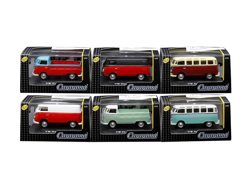 Volkswagen Set of 6 Cars in Display Cases 1/72 Diecast Model Cars by Cararama