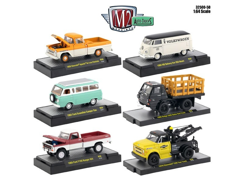 auto thentics 6 piece set release 50 in display cases 1 64 diecast model cars by m2 machines u. Black Bedroom Furniture Sets. Home Design Ideas