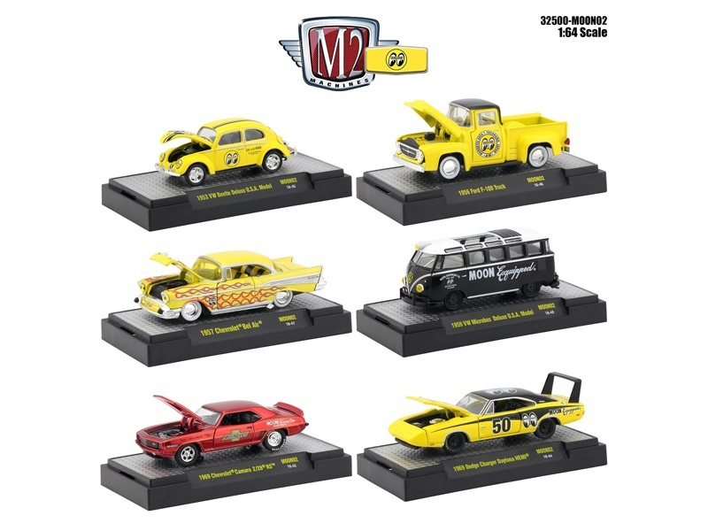 auto thentics mooneyes 6 piece set in display cases 1 64 diecast model cars by m2 machines o. Black Bedroom Furniture Sets. Home Design Ideas