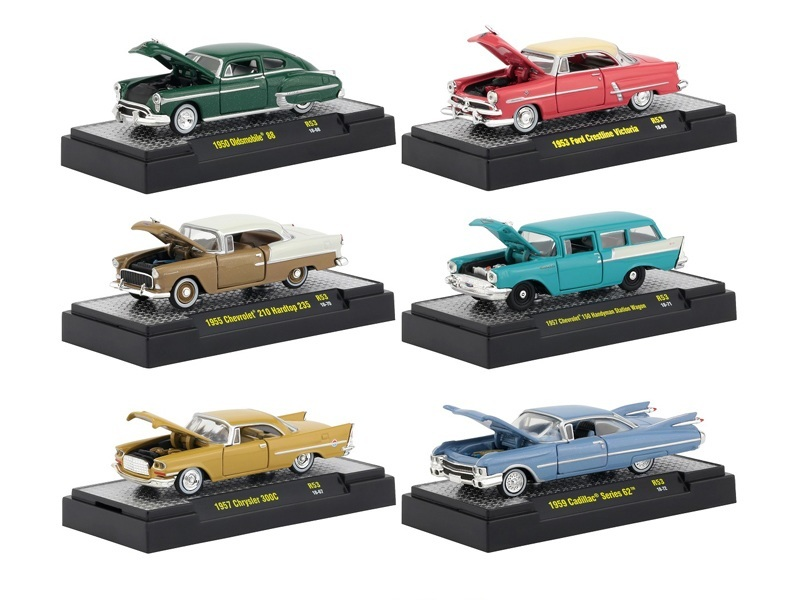 auto thentics 6 piece set release 53 in display cases 1 64 diecast model cars by m2 machines. Black Bedroom Furniture Sets. Home Design Ideas