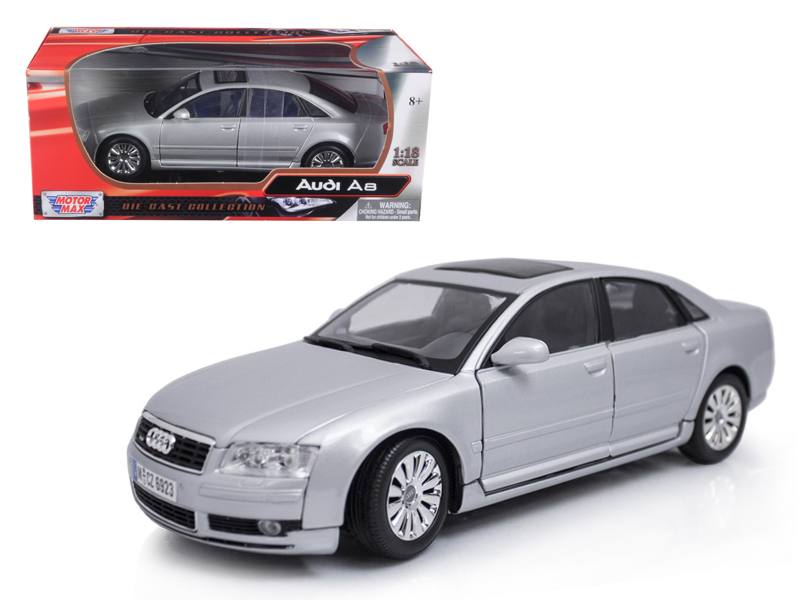 2004 Audi A8 Silver 1/18 Diecast Model Car by Motormax
