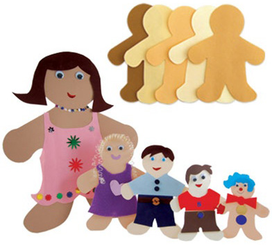 "Hygloss Culturally Diverse Family: 2"" Mini Kid, Package of 100"