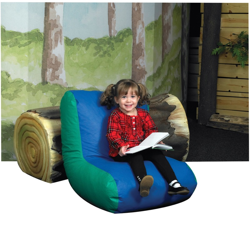 The Children's Factory Preschool High Back Lounger: Blue/Green