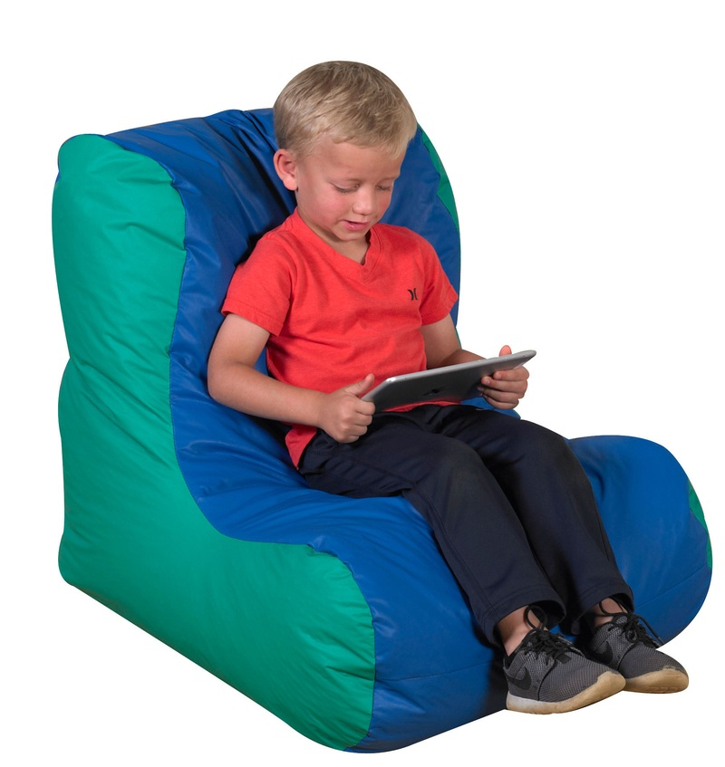The Children's Factory School Age High Back Lounger: Blue/Green