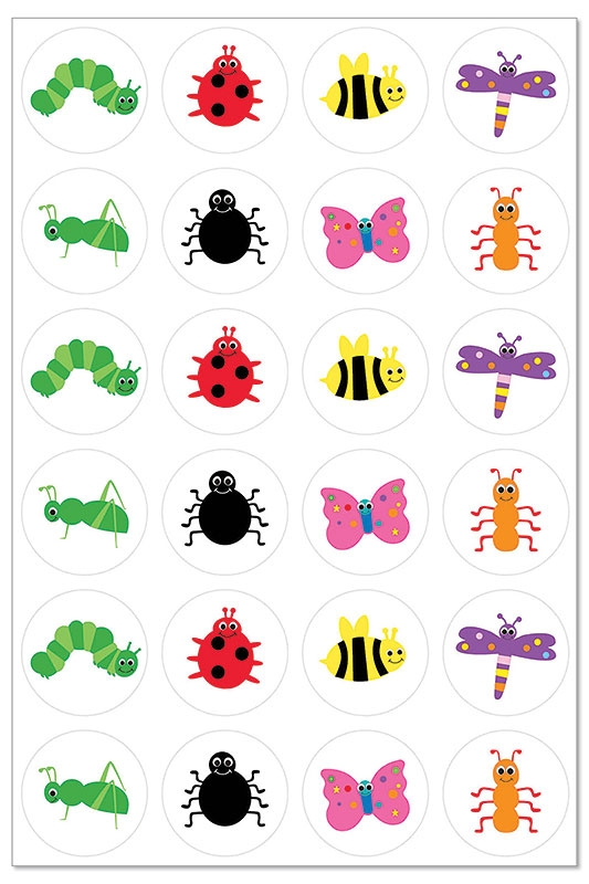 "Hygloss Bugs Themed Sticker Forms: 1"", 3 Sheets"