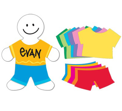 "Hygloss T-Shirt & Pants Shapes: 25 Colored T-Shirts, Pants & 16"" Multicultural People Shapes"