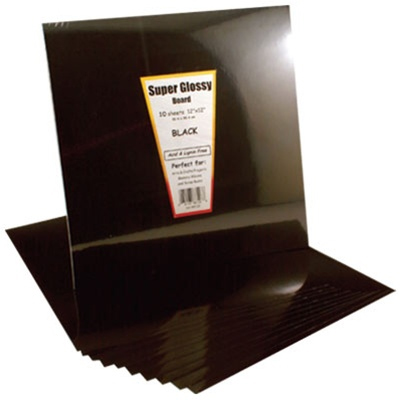 "Hygloss Super Glossy Poster Board: Black, 10 Sheets, 12"" x 12"""