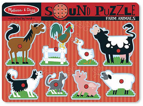 Farm Animals Sound Puzzle: 8 Pieces, 2+ Years