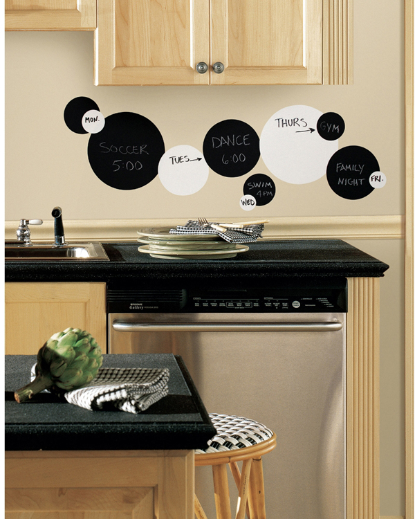 RoomMates Black & White Chalkboard & Dry Erase Dot Wall Decals