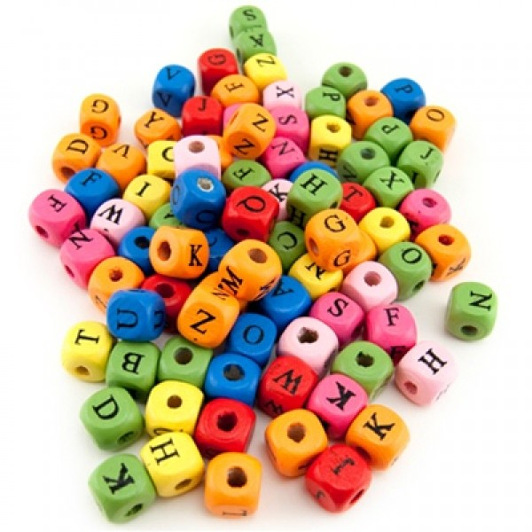 Hygloss Wooden Colored ABC Cube Beads, 90