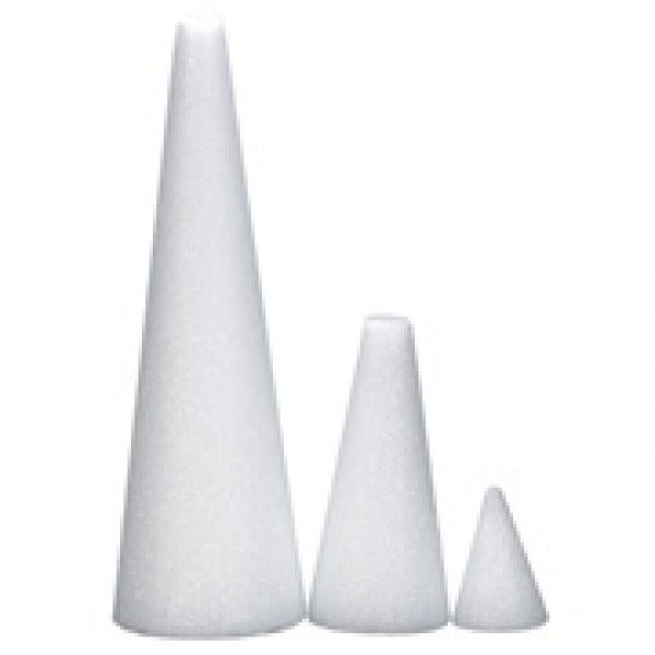 "Hygloss Styrofoam Round Cones: Bulk Pack, 6"", 50 Pieces"