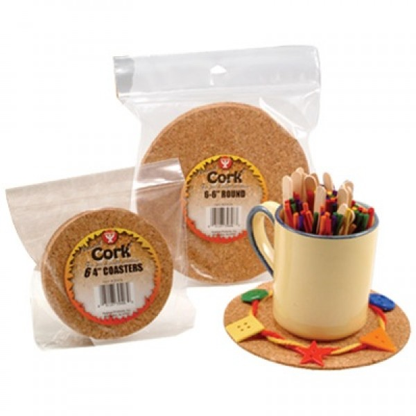 "Hygloss Cork Coasters: 6"" round, Pack of 24"