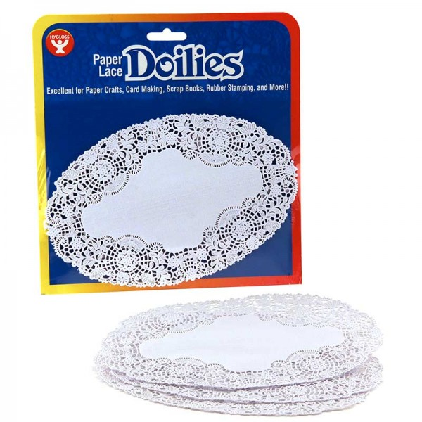 "Hygloss Doilies - Specialty: 100 ct., 6.25""x9.75"" White Oval"