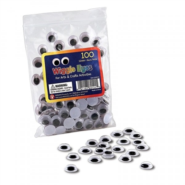 Wiggle Eyes - Paste On, 7 mm Black, Pack of 500