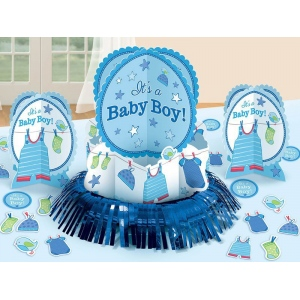 Amscan baby shower boy shower with love table decorating for Baby boy shower decoration kits