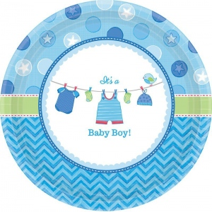 Amscan Baby Shower Boy Shower With Love Dinner Plates (8)