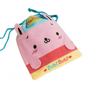 Bubi Bear 6.7*8.5 Embroidered Applique Fabric Art Draw String Bag//Drawstring Pouch