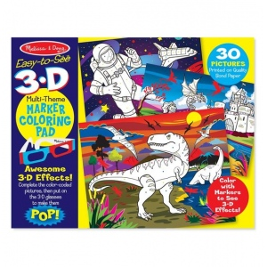 Easy-to-See 3-D Kids' Coloring Pad - Dinosaurs, Knights, Space, and More
