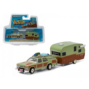 "1979 Family Truckster Wagon Queen ""National Lampoon's Vacation"" (1983) with Shasta 15' Airflyte Trailer 1/64 Diecast Model by Greenlight"