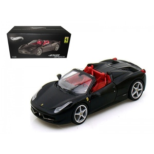 Ferrari 458 Italia Spider Black Elite Edition 1/43 Diecast Car Model by Hotwheels