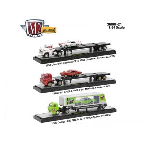 Auto Haulers Release 21, 3 Trucks Set 1/64 Diecast Models by M2 Machines