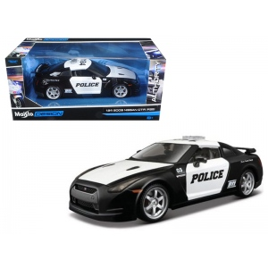 2009 Nissan GT-R (R35) Police Car Black and White 1/24 Diecast Model Car by Maisto