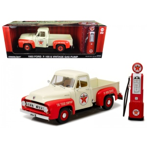 1953 Ford F-100 Pickup Truck Texaco with Vintage Texaco Gas Pump 1/18 Diecast Model Car by Greenlight