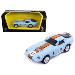 1965 Shelby Cobra Daytona Coupe Light Blue #11 1/43 Diecast Model Car by Road Signature