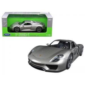 Porsche 918 Spyder With Top Silver 1/18 Diecast Model Car by Welly