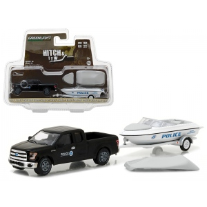2015 Ford F-150 Pickup and Homeland Security Marine Enforcement Police Boat and Trailer Hitch & Tow Series 10 1/64 Diecast Model Car by Greenlight