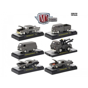 Titanium Release 1, 6 Cars Set IN DISPLAY CASES 1/64 Diecast Model Cars by M2 Machines