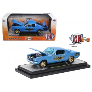 1966 Ford Mustang 2+2 GT Fastback Metalflake Blue 1/24 Diecast Model Car by M2 Machines