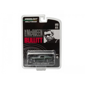 "1968 Ford Mustang GT Fastback Green Bullitt ""Steve McQueen"" (1968) 1/64 Diecast Model Car by Greenlight"