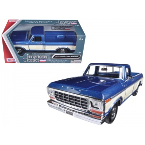 1979 Ford F-150 Pickup Truck 2 Tone Blue/Cream 1/24 Diecast Model Car by Motormax
