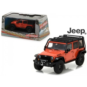 2015 Jeep Wrangler Unlimited Willy's Wheeler Edition Sunset Orange Metallic with Off-Road Bumpers and Roll Cage 1/43 Diecast Model Car  by Greenlight