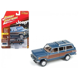 "1981 Jeep Wagoneer Mountain Blue with Wood Panel ""Johnny Lightning Classic Gold"" Limited Edition to 1248pcs 1/64 Diecast Model Car by Johnny Lightning"