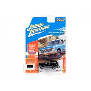 "1969 Chevrolet Blazer Black with Tow HItch ""Classic Gold"" 1/64 Diecast Model Car by Johnny Lightning"