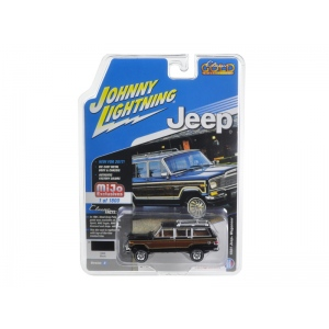 "1981 Jeep Wagoneer Black ""Classic Gold"" 1/64 Diecast Model Car by Johnny Lightning"