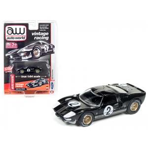 1965 Ford GT40 Black #2 Vintage Racing 1/64 Diecast Model Car by Autoworld