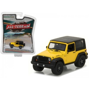 "2015 Jeep Wrangler Willys Wheeler Yellow ""All Terrain"" Series 5 1/64 Diecast Model Car by Greenlight"