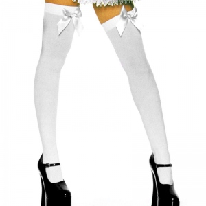 3762d2183 Leg Avenue Thigh High Stockings with White Bow One Size