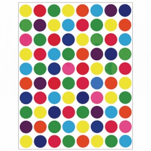 Hygloss Sticker Forms: Colored Circle, 25 Sheets
