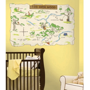 RoomMates Pooh & Friends 100 Aker Wood Map