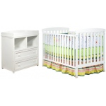 AFG Leila Crib and Dresser/Changing Table: White