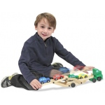 Car Carrier Truck & Cars Wooden Toy Set: 3+ Years